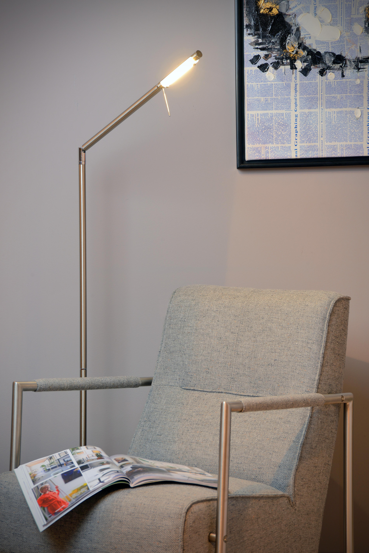 Bergamo Stehlampe Mit Leselampe Led Dim 1x6w 3000k Chrom Matt