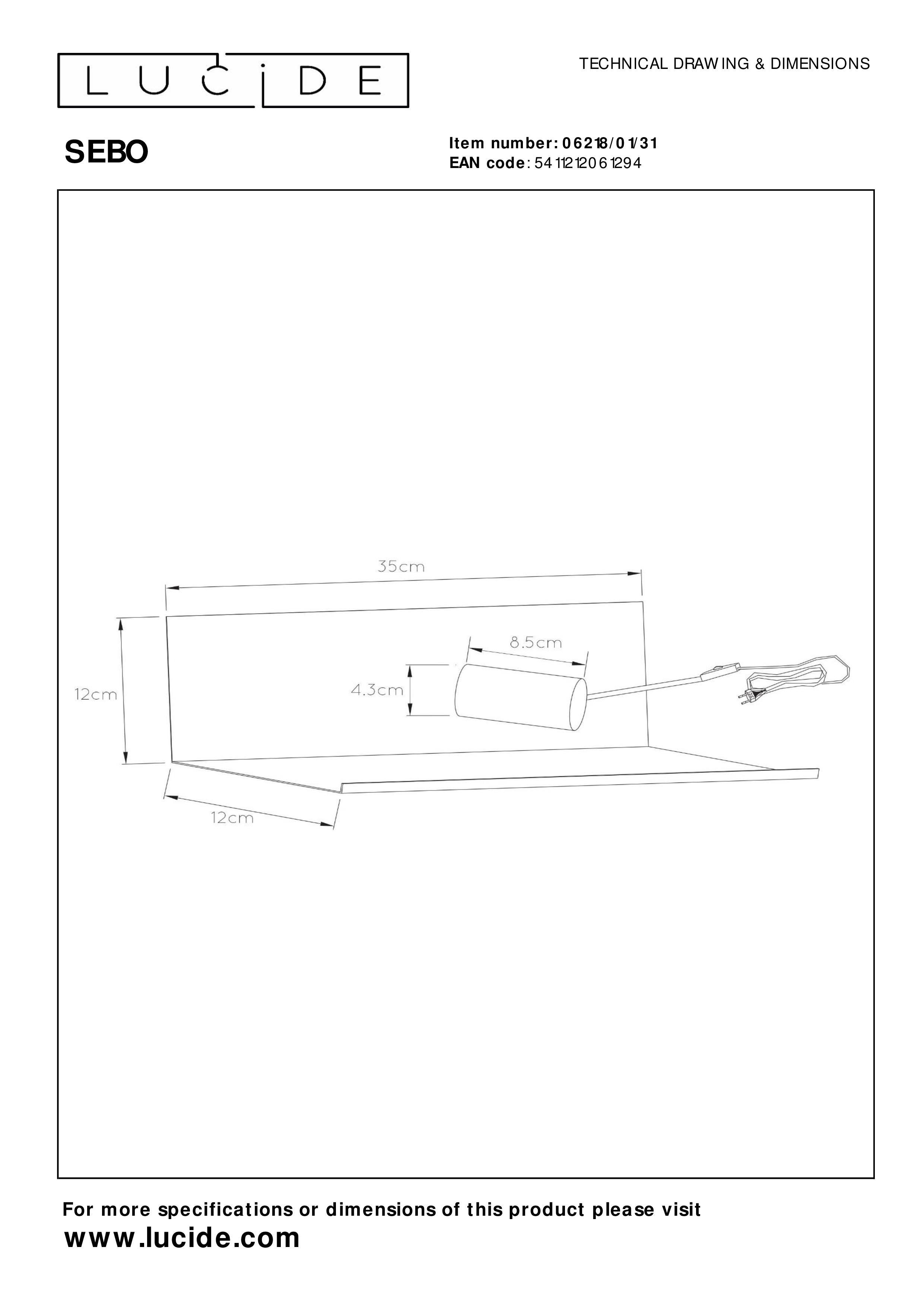Bettlampe Schwarz Metall E27 Black 35 x 12 x 12 cm Lucide SEBO 40 W
